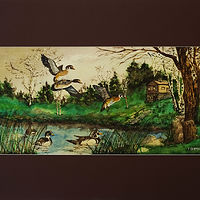 Painting Duck Pond-22x11 by Frans Geerlings