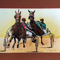 Watercolor Sports Horses Steeple Chase by Frans Geerlings