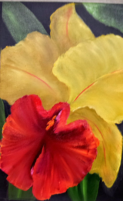 Oil painting REd and Yellow Orchid by Barbara Haviland