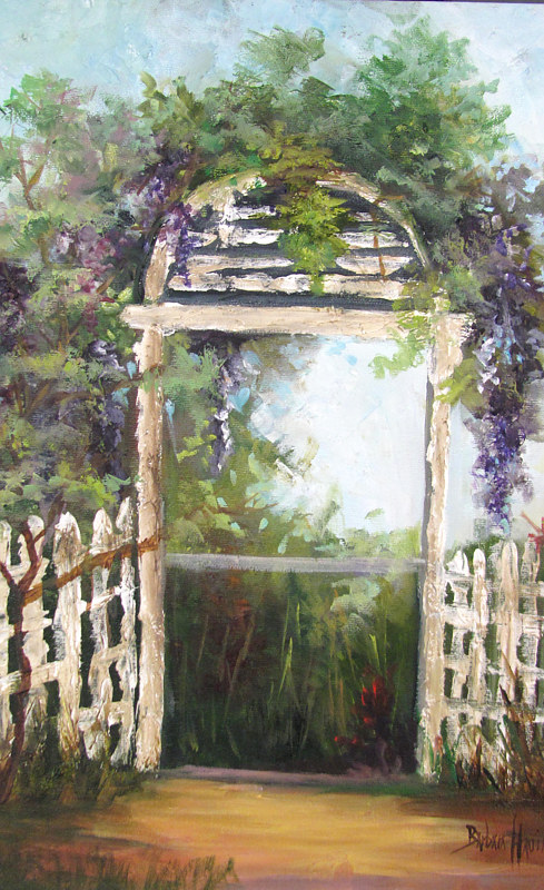 Oil painting  Helen's Wisteria  Arbor  by Barbara Haviland