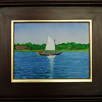 Acrylic painting Dutch bog and sailboat-9x12 by Frans Geerlings