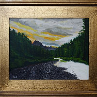 Acrylic painting Sunset at Glacier park-11x14 by Frans Geerlings