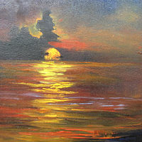 Oil painting  SunsetOver Lake Sabine by Barbara Haviland