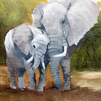 Oil painting Mother Love Elephants by Barbara Haviland