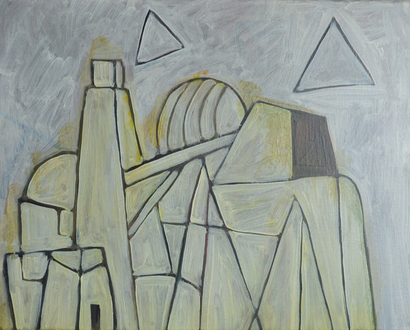 Acrylic painting Better Architectures:  Glowing Smog by Graham Hall
