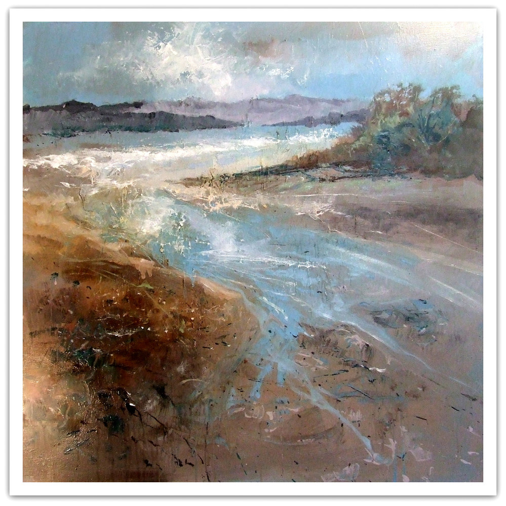Mixed-media artwork Beach Winds mixed media 30x30 by Anne Farrall Doyle