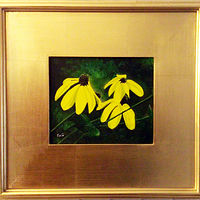 Painting Black Eyed Susan Framed OA 19x18-Img 8x10 by Frans Geerlings