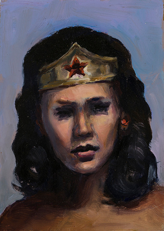 Oil painting Wonder Woman by Mary Hayes