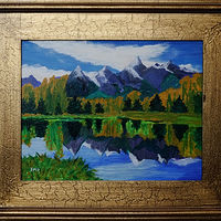 Acrylic painting Glacier park Reflections-11x14 by Frans Geerlings