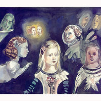 Watercolor Space Meninas by Mary Hayes