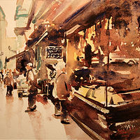 Watercolor Food Shops, Bologna (study) by Nella Lush