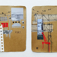 Mixed-media artwork PortTown Sketches 7, 8 by Lori Sokoluk
