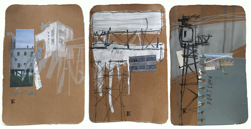 Mixed-media artwork PortTown Sketches 4, 5, 6 by Lori Sokoluk