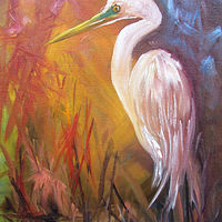 Oil painting Snowy Egret by Barbara Haviland
