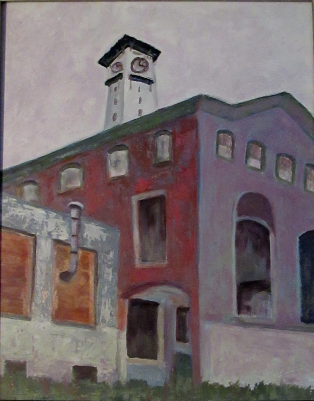 Oil painting Grundy Tower by Marty Shively by George Servais