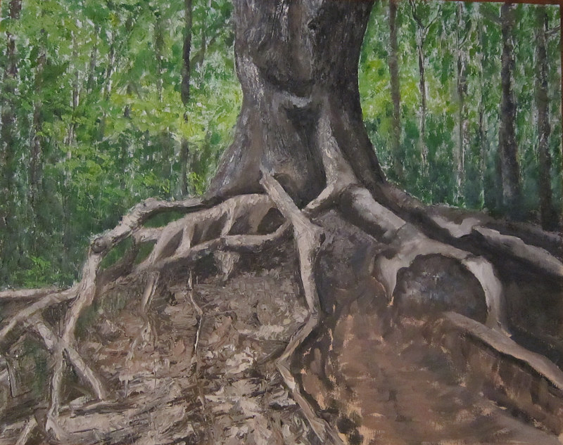 Oil painting Octupus Tree by Marty Shively by George Servais
