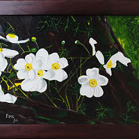 Acrylic painting White flowers on tree trunk-9x12 by Frans Geerlings