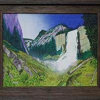 Acrylic painting Yosemite waterfall-11x14 by Frans Geerlings