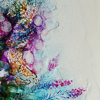Mixed-media artwork Blossoms of Time by Liba Labik