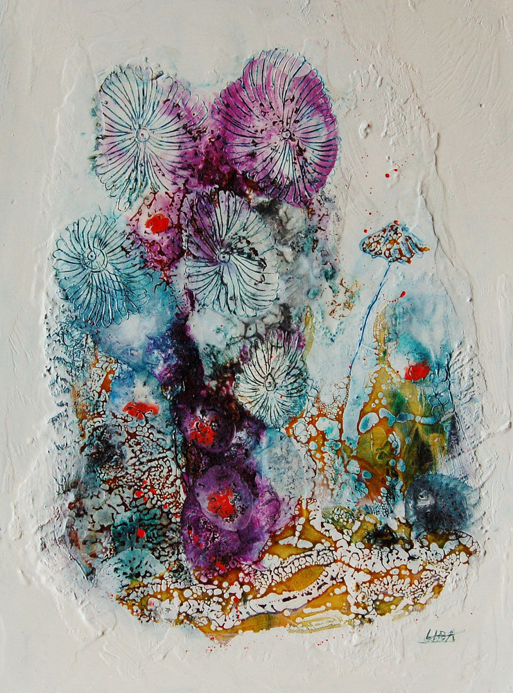 Mixed-media artwork Creatures of Time II by Liba Labik