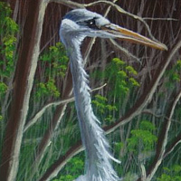 Acrylic painting Heron by George Servais