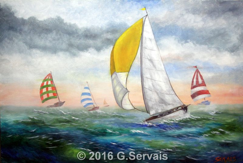 Acrylic painting In the lead by George Servais
