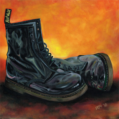 Oil painting Black DM's by Richard Mountford