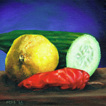 Oil painting Lemon and Cucumber by Richard Mountford