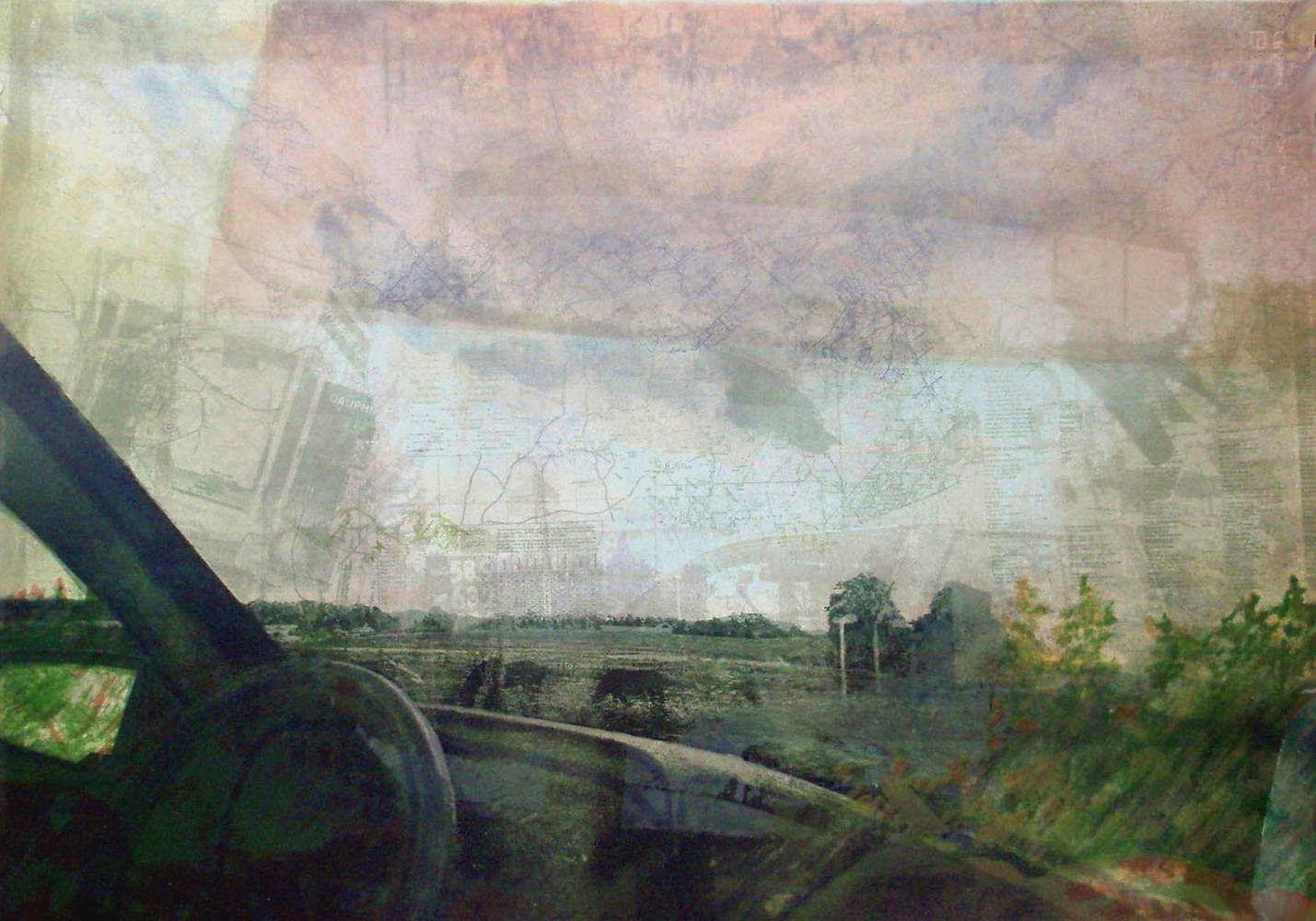 Dashboard & Horses, Relief & Monotype, 75x52.5 cm by Julie Mcintyre