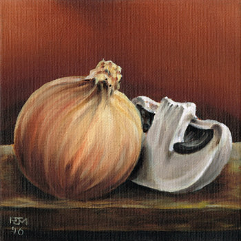 Oil painting Onion and Mushroom by Richard Mountford