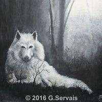 Acrylic painting White Wolf by George Servais