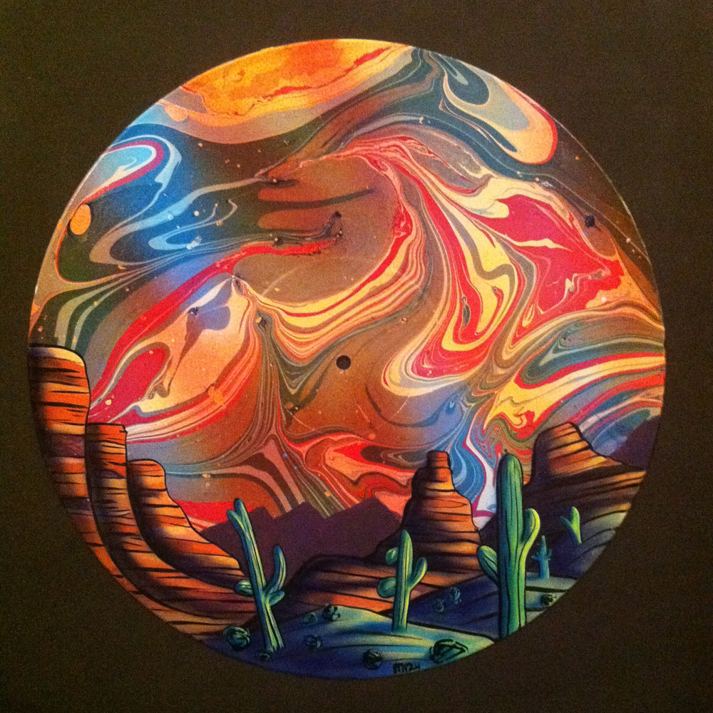 Painting Arizona Desert Landscape Painting on Vinyl Record by Isaac Carpenter