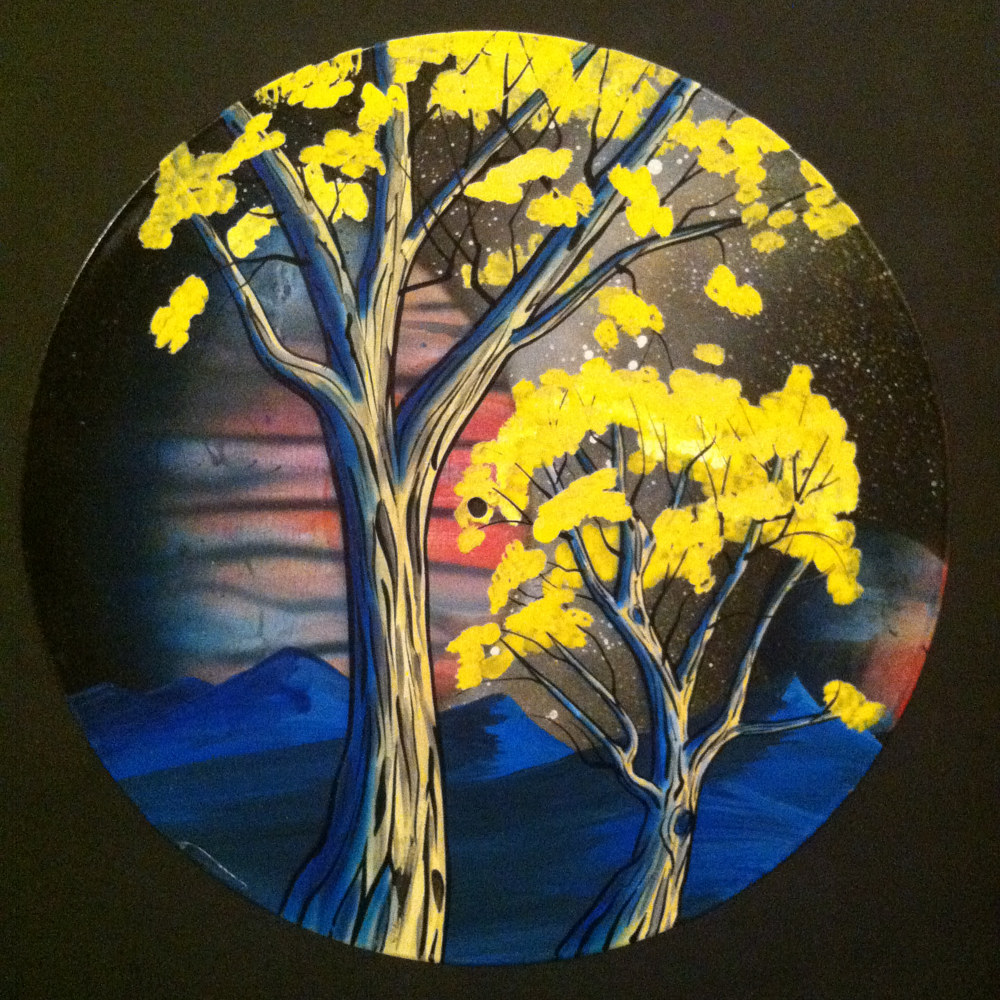 Cotton Wood Trees Painting on Vinyl Record by Isaac Carpenter