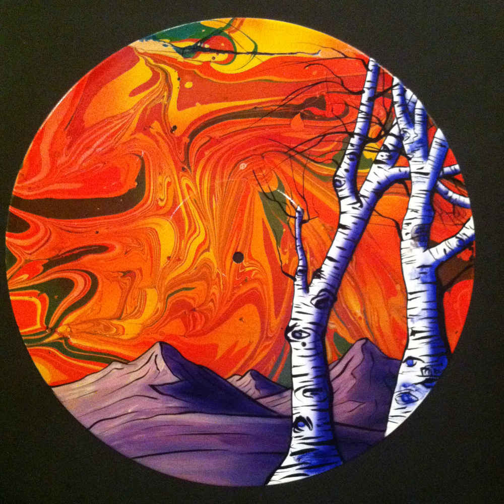 Winter Aspen Trees Painting on Vinyl Record  by Isaac Carpenter