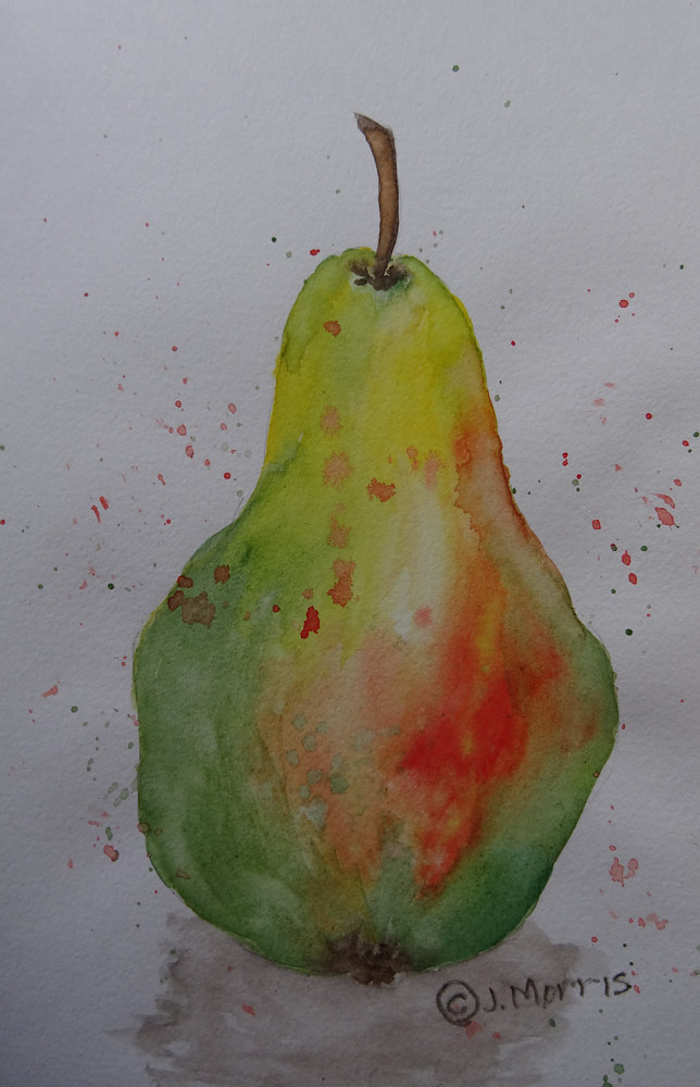Watercolor WinePear by Joan Morris