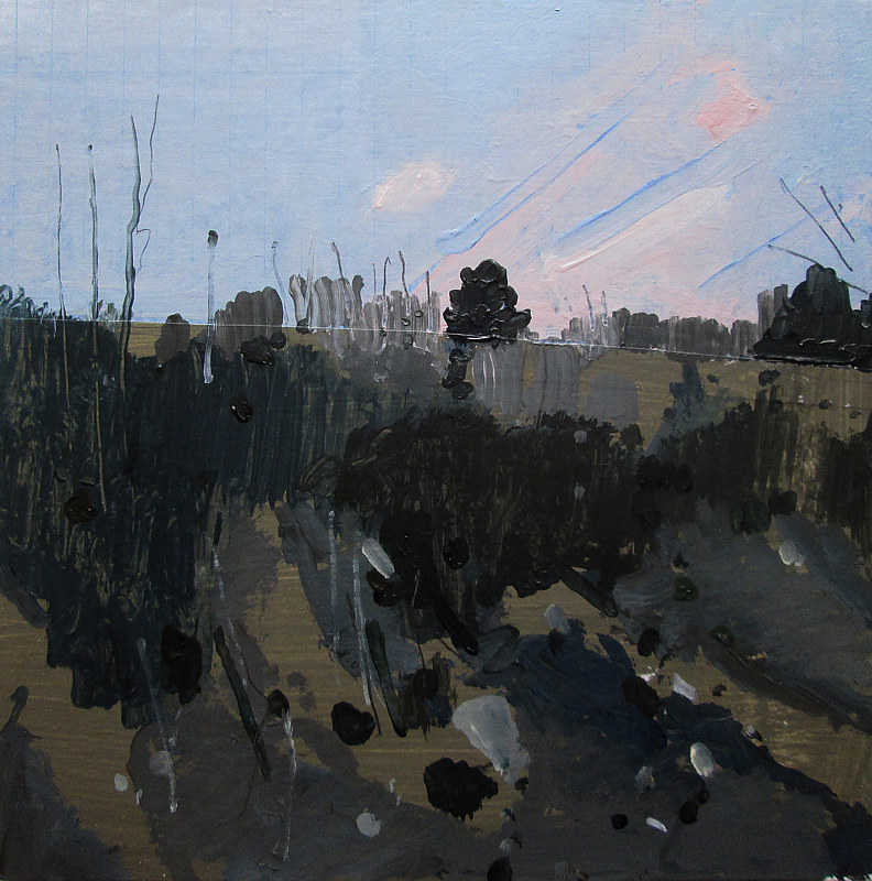 Acrylic painting Roadside, November Dusk by Harry Stooshinoff