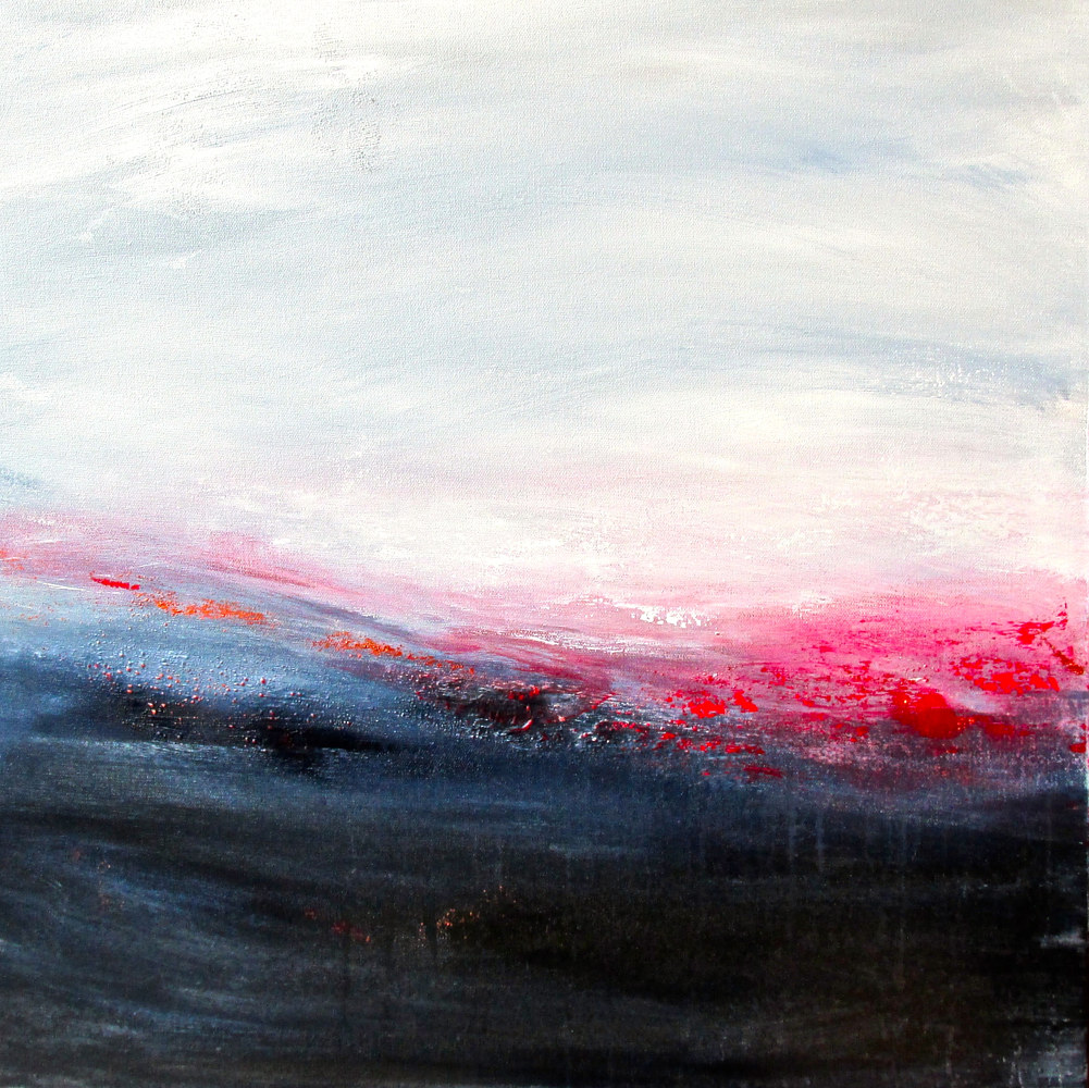 Acrylic painting Distant Fires by Laura Spring