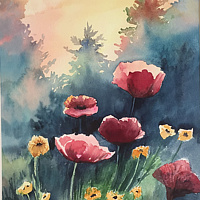 Watercolor Poppies in the morning mist by Betty Ann  Medeiros