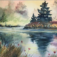 Watercolor Morning reflections by Betty Ann  Medeiros