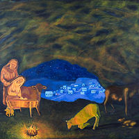 Acrylic painting The Nativity by Denise Gracias
