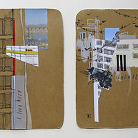 Mixed-media artwork PortTown Sketches 11, 12 by Lori Sokoluk