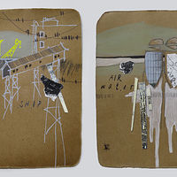 Mixed-media artwork PortTown Sketches 13, 14 by Lori Sokoluk