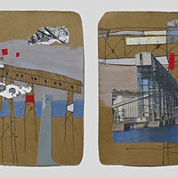 Mixed-media artwork PortTown Sketches 15, 16 by Lori Sokoluk