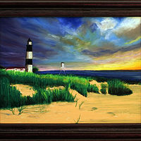 "Oil painting Michigan Lighthouse 16"" x 12"" Oil Pastel by Frans Geerlings"
