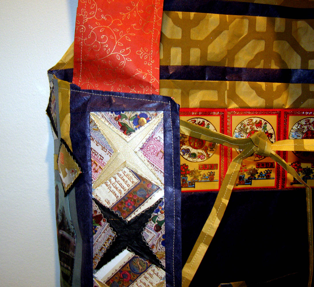 Blessed Apron (Detail), Assorted Papers and thread by Julie Mcintyre