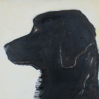 "Angus McDoogle, 10x10"", oil on wood, 2010 by Edith dora Rey"