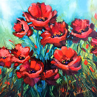 Oil painting Windswept Poppies by Agnes Friedlander