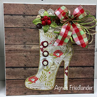 Mixed-media artwork Country Christmas Boot by Agnes Friedlander