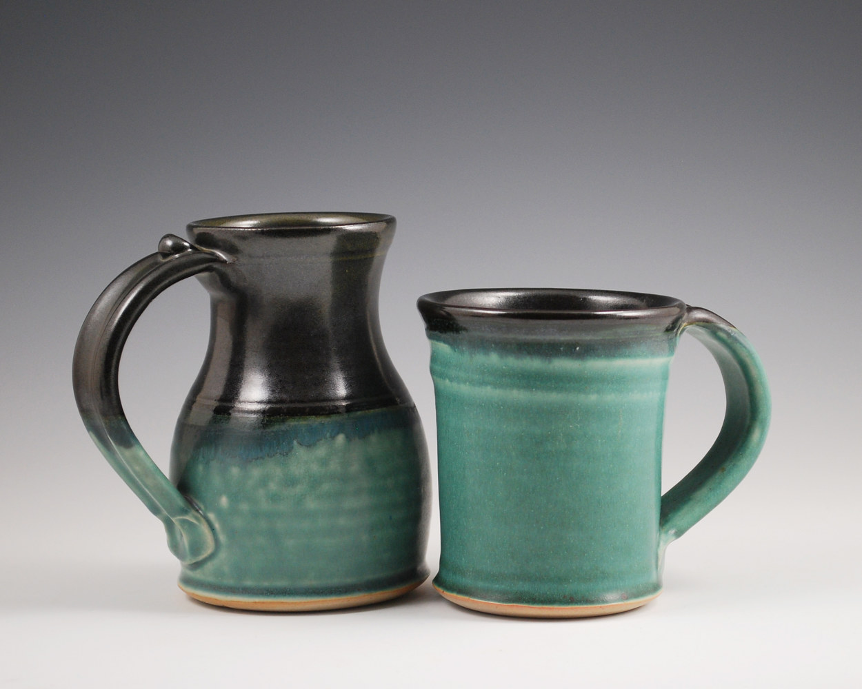 Turquoise Stone Marks Mug and Straight Mug with Black Rims by Mark  Goertzen