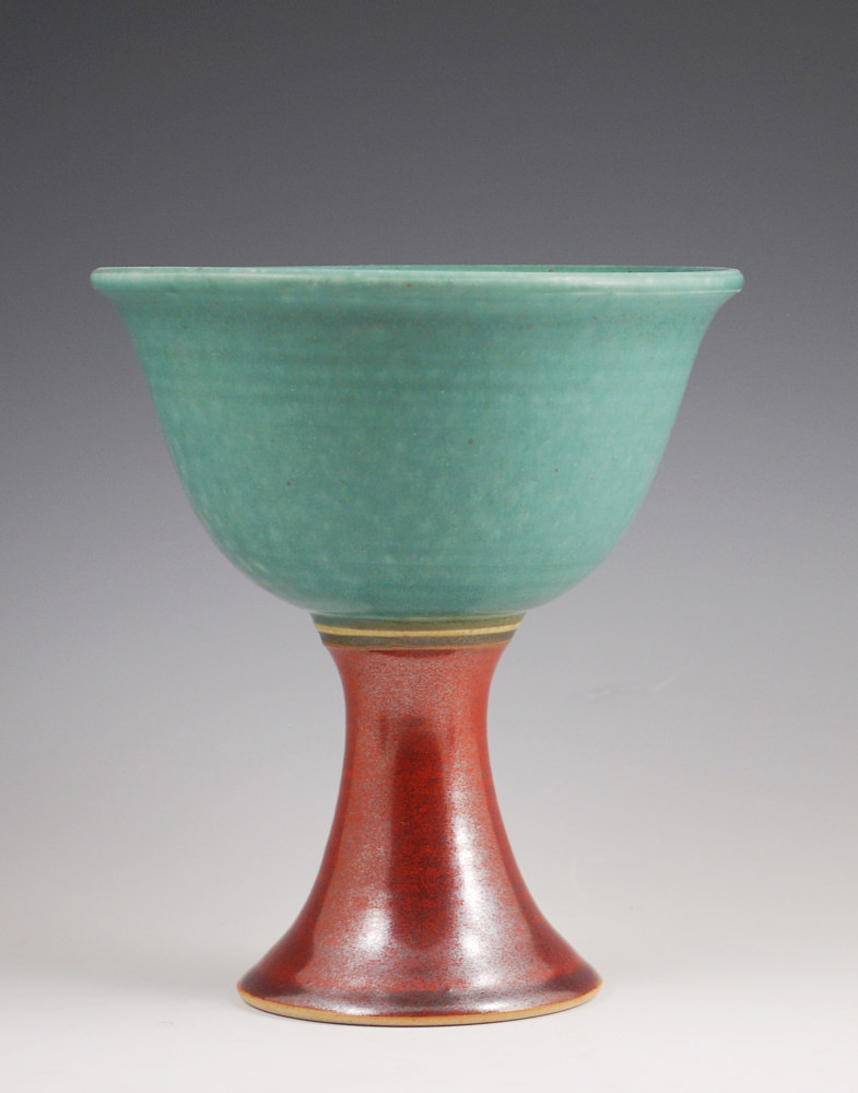 Turquoise Stone Goblet with Rust Red on Bottom by Mark  Goertzen